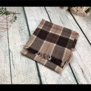 Accessories - Winter scarf brown plaid checkered fringe wool